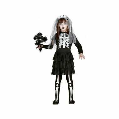 Skelet bruid meisjes verkleedkleding zwart wit