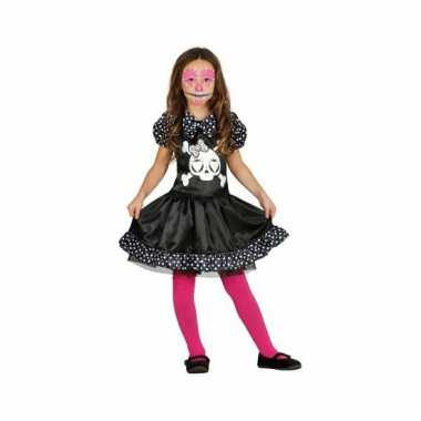 Skelet meisjes verkleedkleding zwart wit stippen