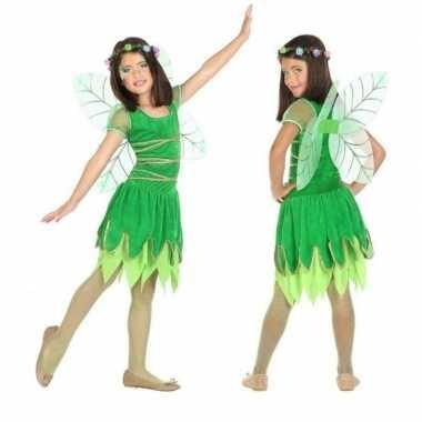Toverfee/elf verkleedkleding groen met vleugels voor meisjes