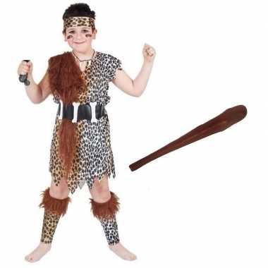 Verkleed holbewoners verkleedkleding met knuppeltje voor kinderen maa