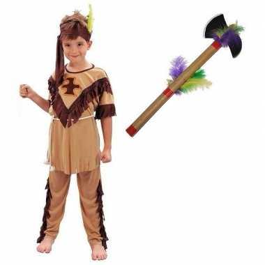 Verkleed indianen verkleedkleding voor kinderen maat s met tomahawk