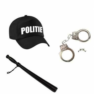 Verkleed politie agent pet / cap zwart met knuppel en handboeien voor kinderen