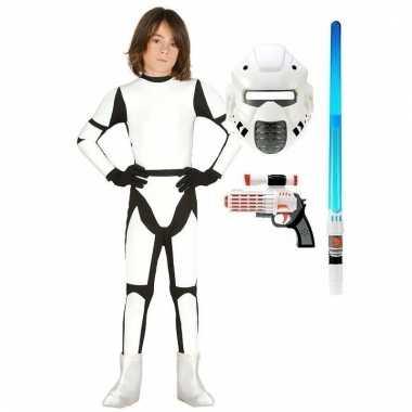 Verkleed witte ruimte soldaat verkleedkleding maat 122 134 voor kinde