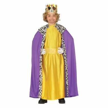 Verkleedkleding koning paars met geel voor kinderen