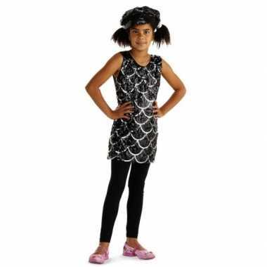 Verkleedkleding met zwarte pailletten voor meisjes