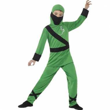Verkleedkleding ninja groen/zwart voor kinderen