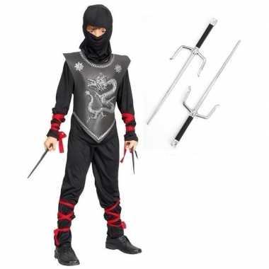 Verkleedkleding ninja pak maat l met dolken voor kinderen