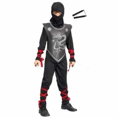 Verkleedkleding ninja pak maat l met vechtstokken voor kinderen
