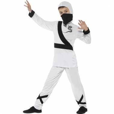 Verkleedkleding ninja wit/zwart voor kinderen