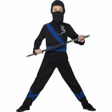 Verkleedkleding ninja zwart/blauw voor kinderen