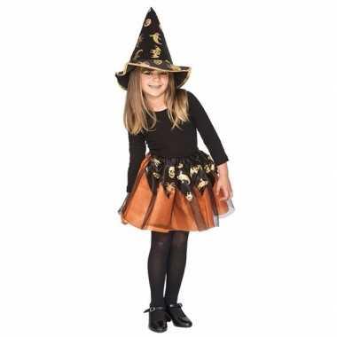 Verkleedkleding oranje heksenset voor meisjes