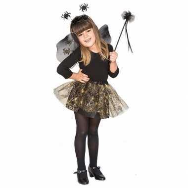 Verkleedkleding zwarte spin heksenset voor meisjes