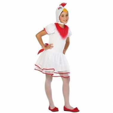 Witte hen/kip pok verkleedkleding voor meisjes