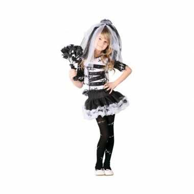 Zombie bruid meisjes verkleedkleding zwart wit
