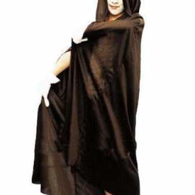 Zwarte halloween cape met capuchon voor kids