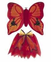Verkleedkleding rode vlinder vleugels voor meisjes
